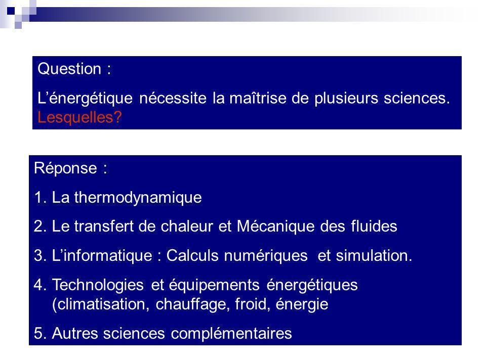 Question : L'énergétique nécessite la maîtrise de plusieurs sciences. Lesquelles Réponse : La thermodynamique.