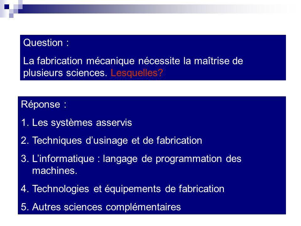 Question : La fabrication mécanique nécessite la maîtrise de plusieurs sciences. Lesquelles Réponse :