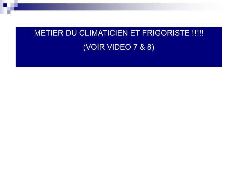 METIER DU CLIMATICIEN ET FRIGORISTE !!!!!