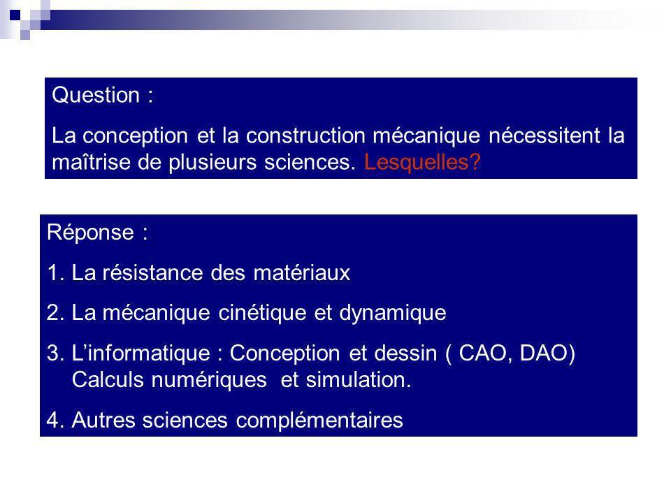 Question : La conception et la construction mécanique nécessitent la maîtrise de plusieurs sciences. Lesquelles