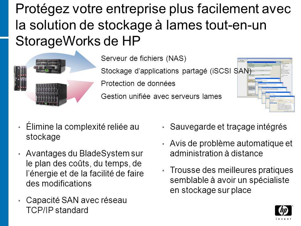 Protégez votre entreprise plus facilement avec la solution de stockage à lames tout-en-un StorageWorks de HP