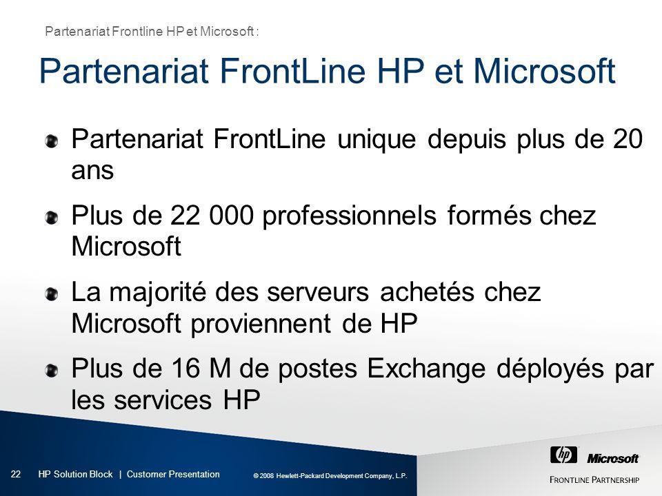 Partenariat FrontLine HP et Microsoft