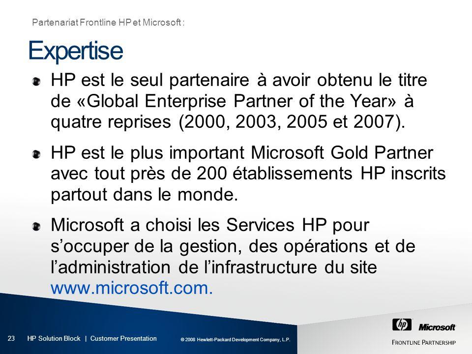 Partenariat Frontline HP et Microsoft :
