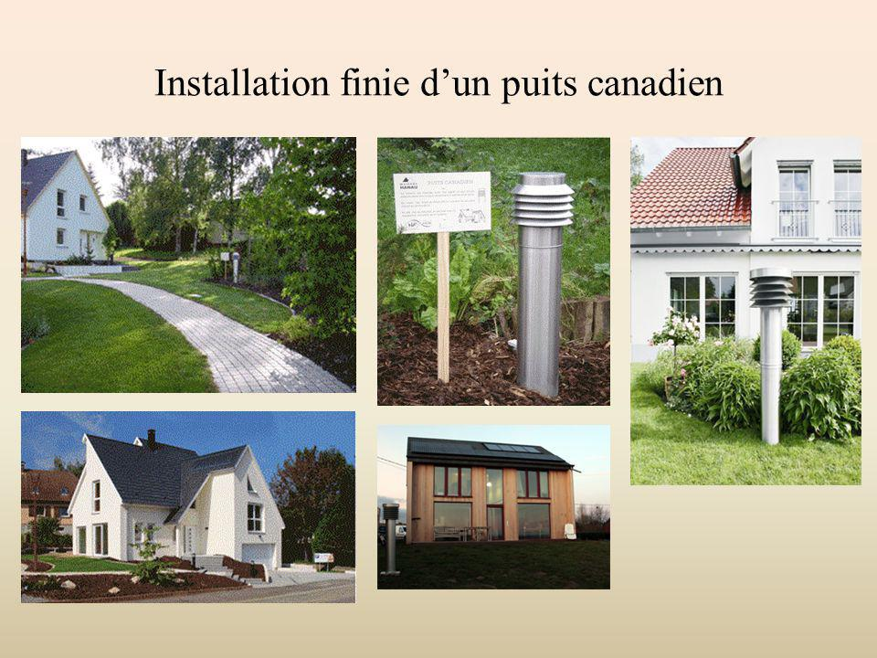 Installation finie d'un puits canadien