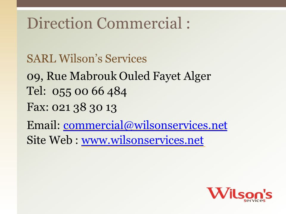 Direction Commercial :