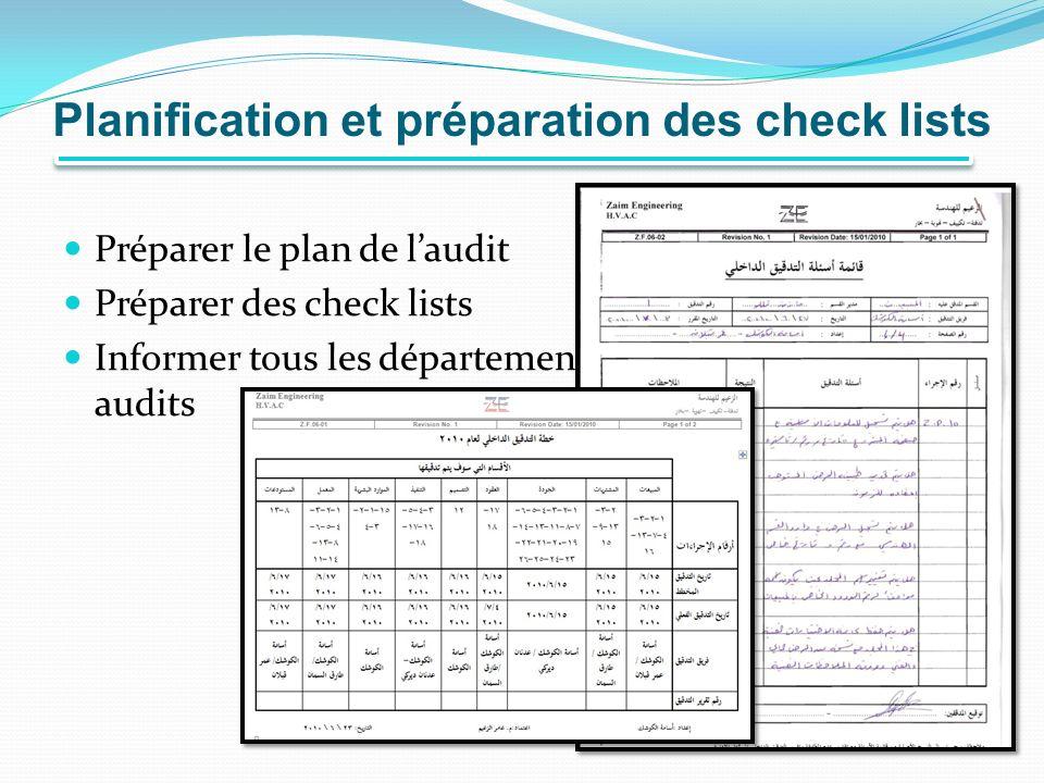 Planification et préparation des check lists