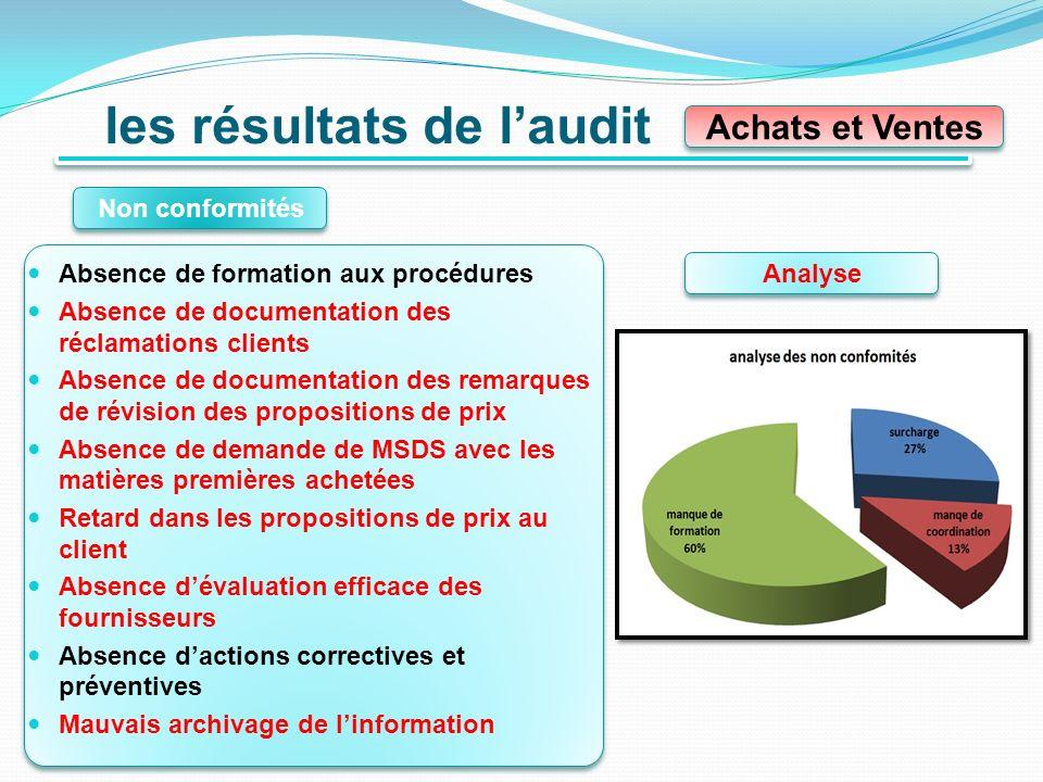 les résultats de l'audit