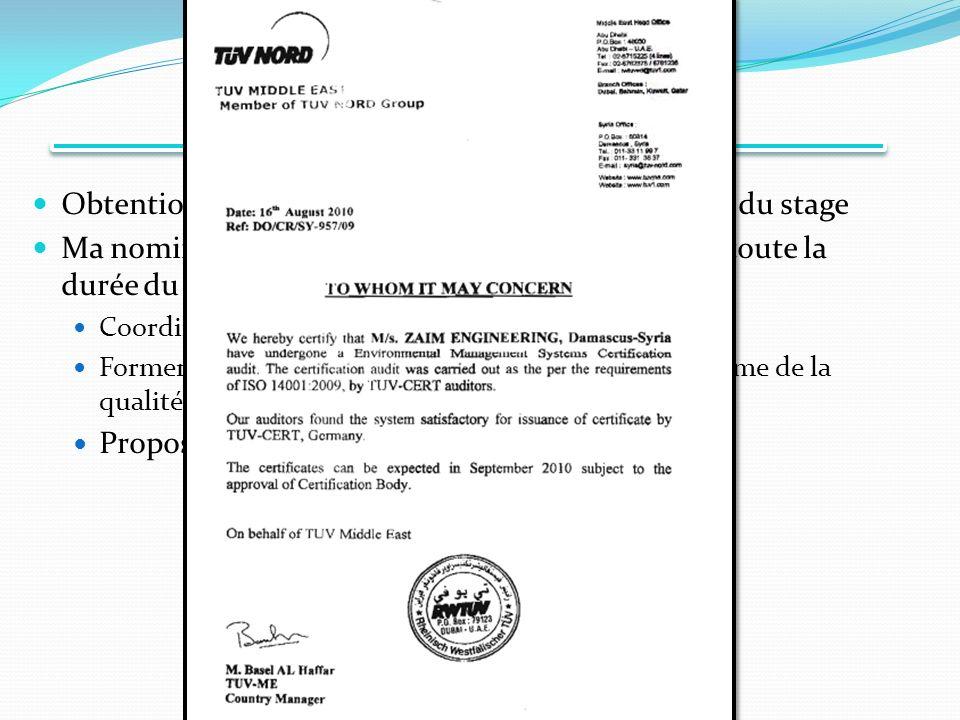 Conclusions Obtention des norme ISO 14001 et ISO 9001 à la fin du stage. Ma nomination comme directeur Qualité pendant toute la durée du stage.