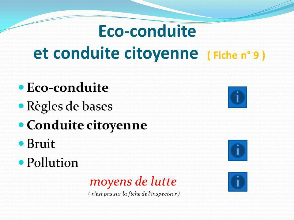 Eco-conduite et conduite citoyenne ( Fiche n° 9 )