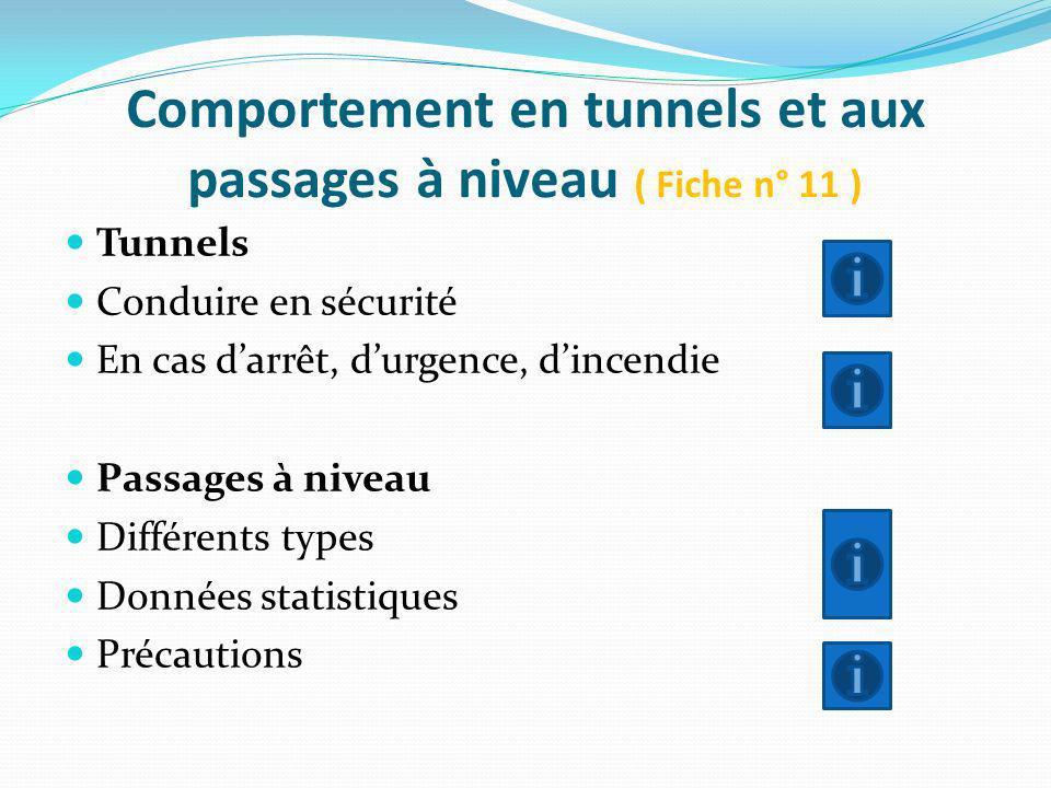 Comportement en tunnels et aux passages à niveau ( Fiche n° 11 )