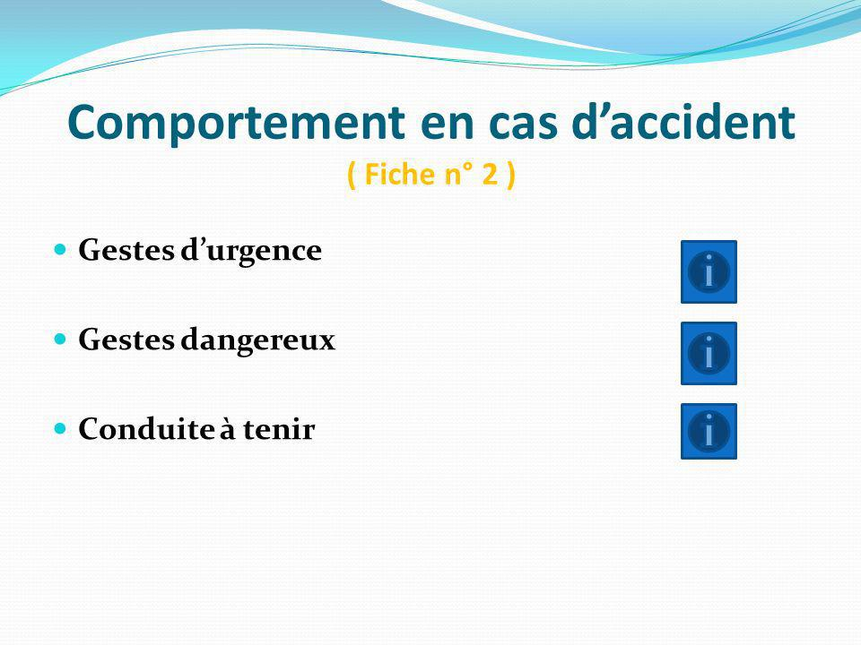 Comportement en cas d'accident ( Fiche n° 2 )