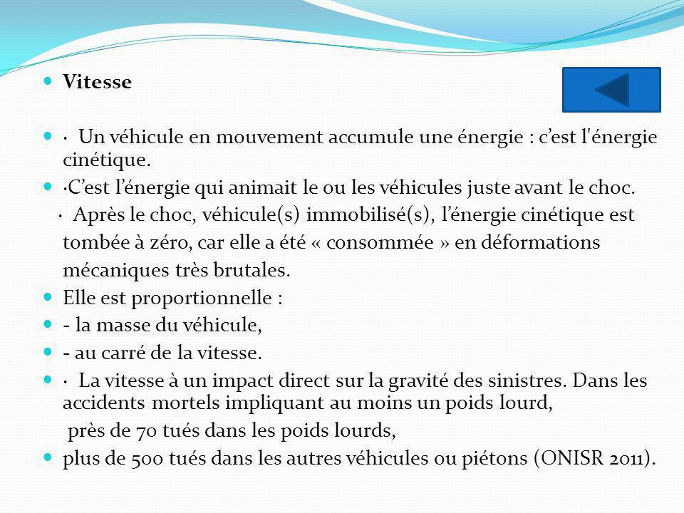 Vitesse · Un véhicule en mouvement accumule une énergie : c'est l énergie cinétique.