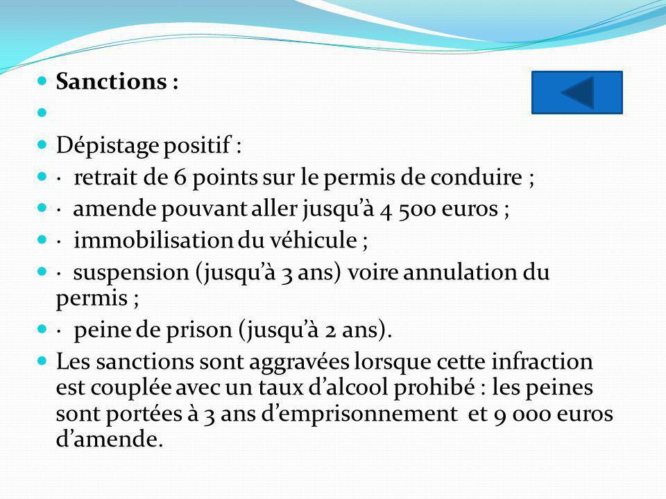 Sanctions : Dépistage positif : · retrait de 6 points sur le permis de conduire ; · amende pouvant aller jusqu'à 4 500 euros ;