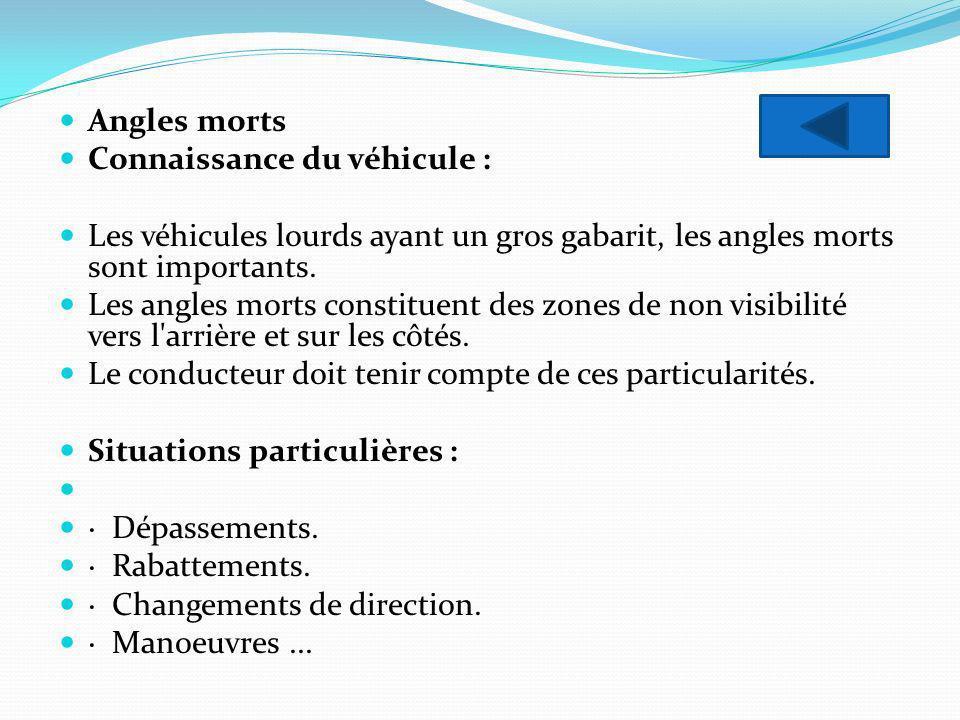 Angles morts Connaissance du véhicule : Les véhicules lourds ayant un gros gabarit, les angles morts sont importants.
