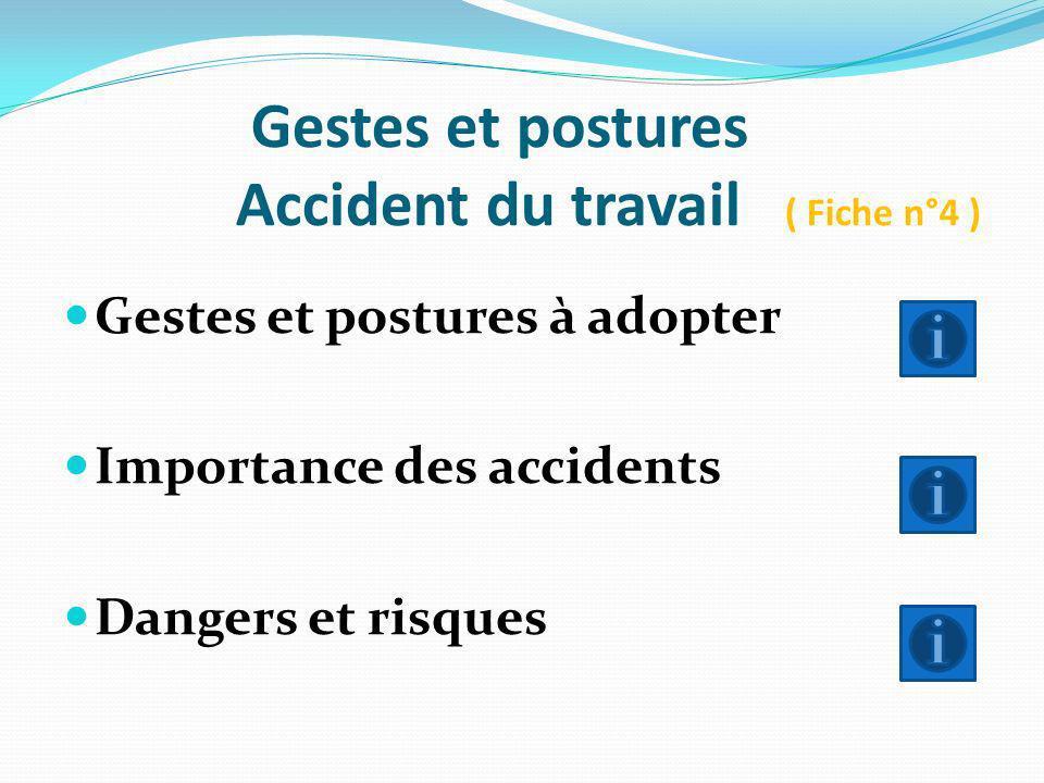 Gestes et postures Accident du travail ( Fiche n°4 )