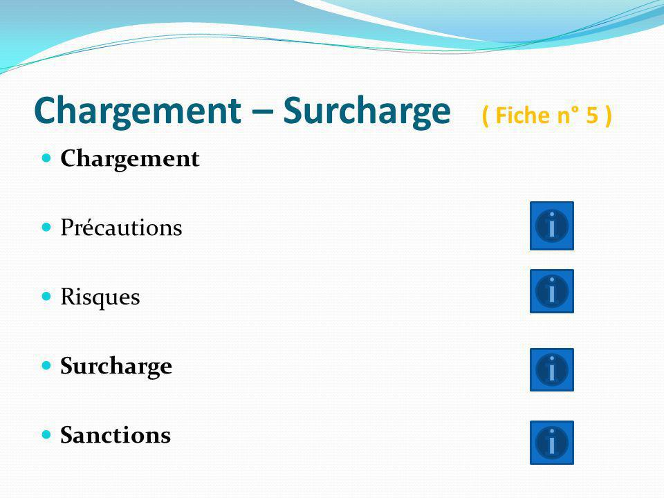 Chargement – Surcharge ( Fiche n° 5 )
