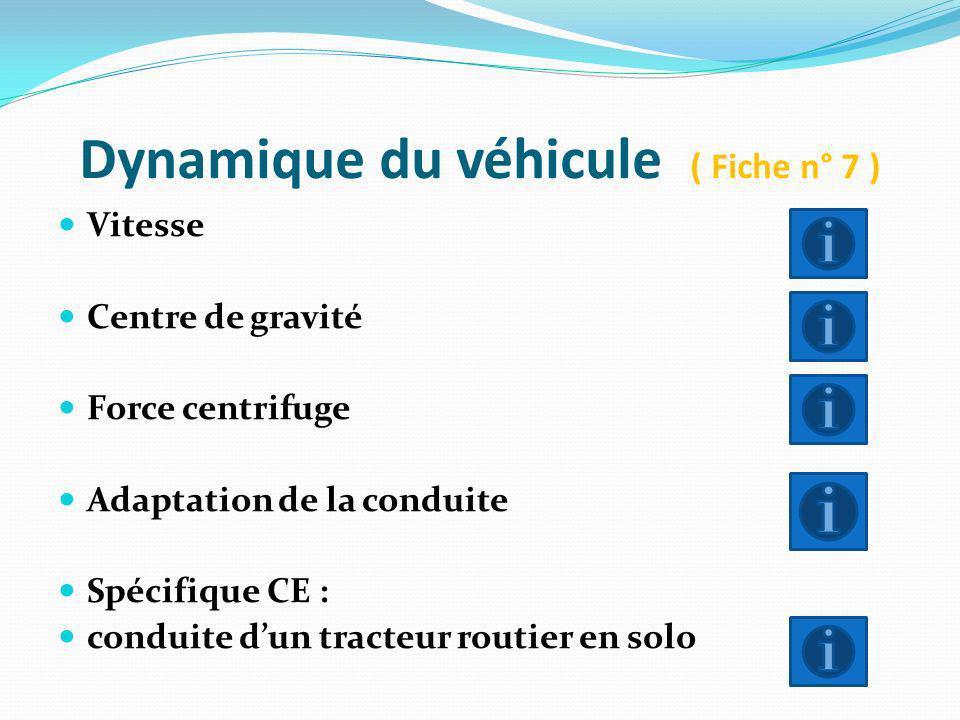 Dynamique du véhicule ( Fiche n° 7 )