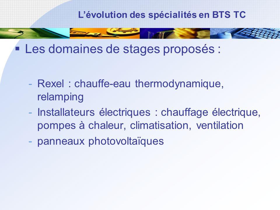 Les domaines de stages proposés :