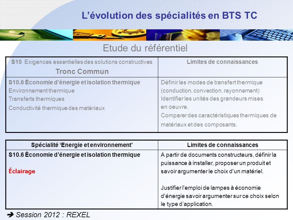 Etude du référentiel Tronc Commun  Session 2012 : REXEL