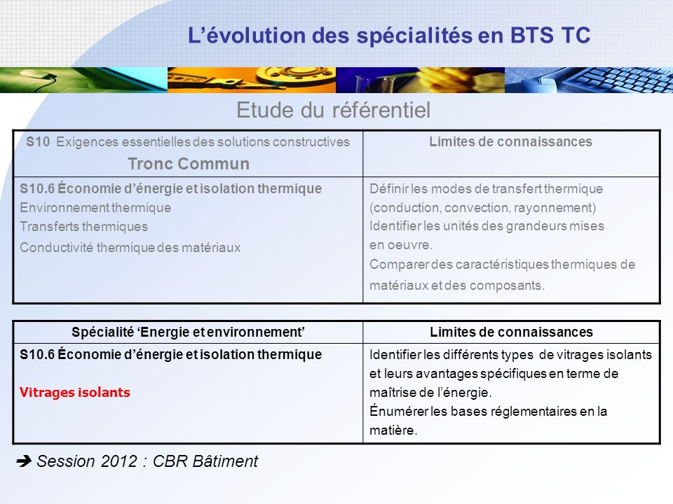 Etude du référentiel Tronc Commun  Session 2012 : CBR Bâtiment