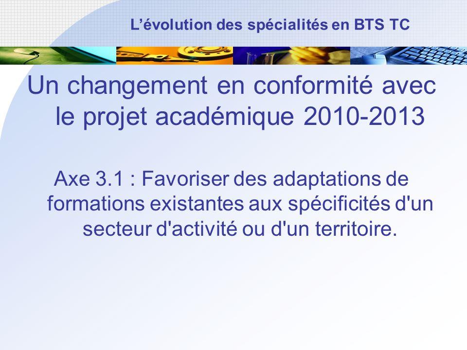 Un changement en conformité avec le projet académique 2010-2013