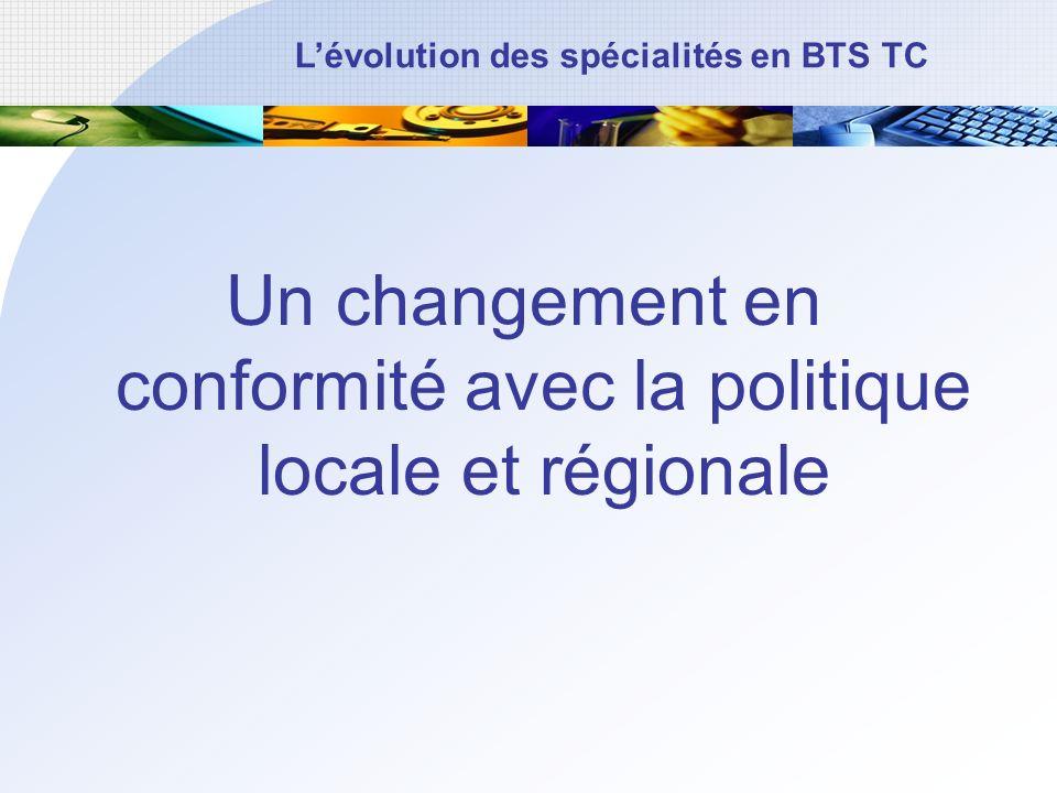 Un changement en conformité avec la politique locale et régionale