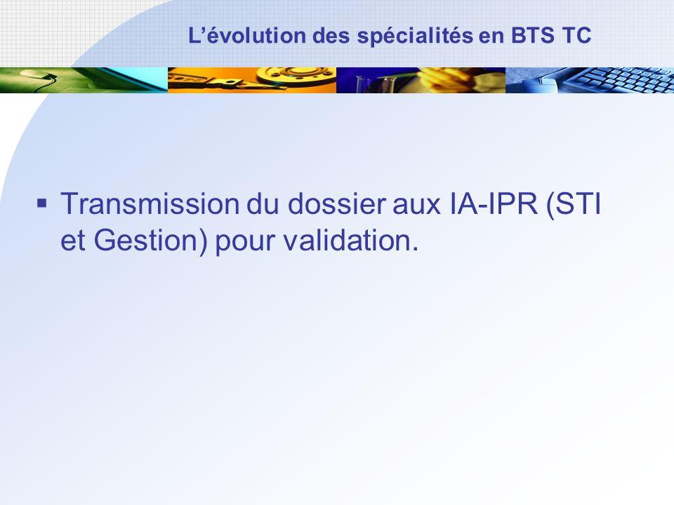 Transmission du dossier aux IA-IPR (STI et Gestion) pour validation.