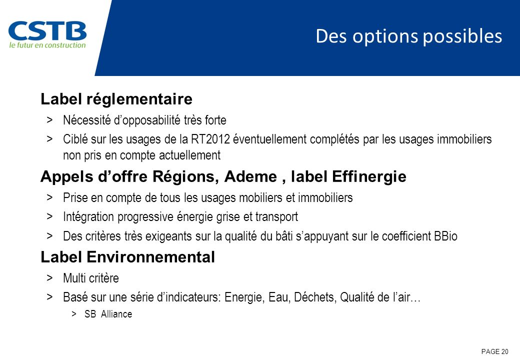 Des options possibles Label réglementaire
