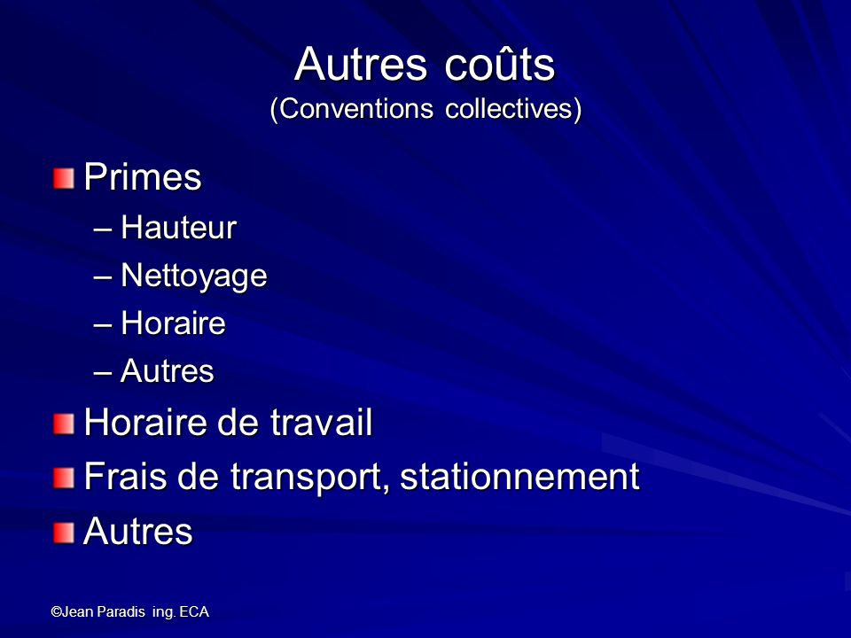 Autres coûts (Conventions collectives)