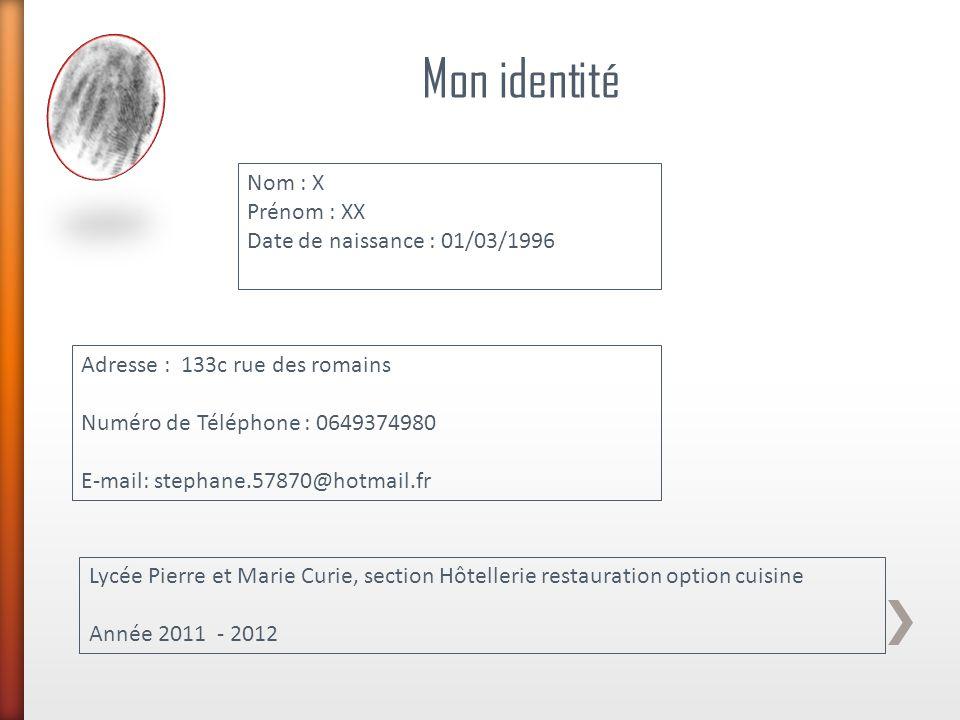 Mon identité Nom : X Prénom : XX Date de naissance : 01/03/1996