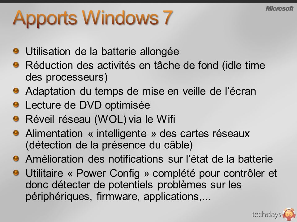 Apports Windows 7 Utilisation de la batterie allongée
