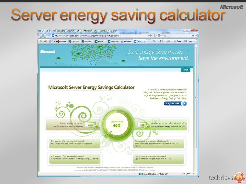 Server energy saving calculator