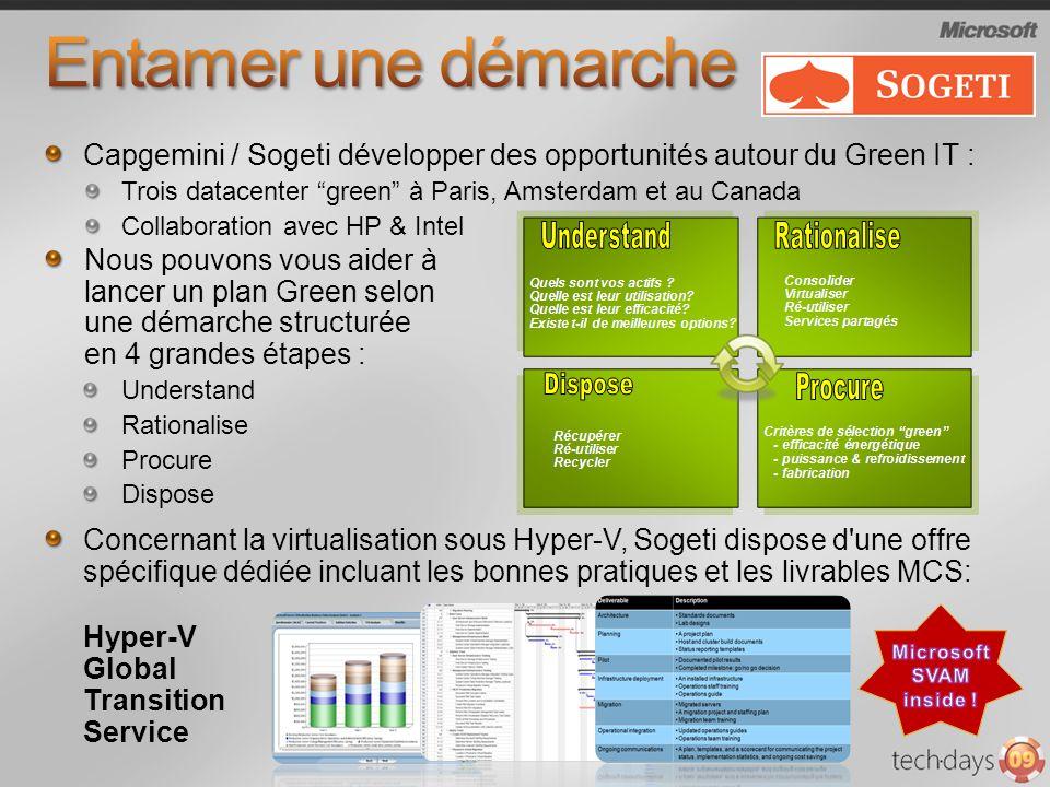 Entamer une démarche Capgemini / Sogeti développer des opportunités autour du Green IT : Trois datacenter green à Paris, Amsterdam et au Canada.