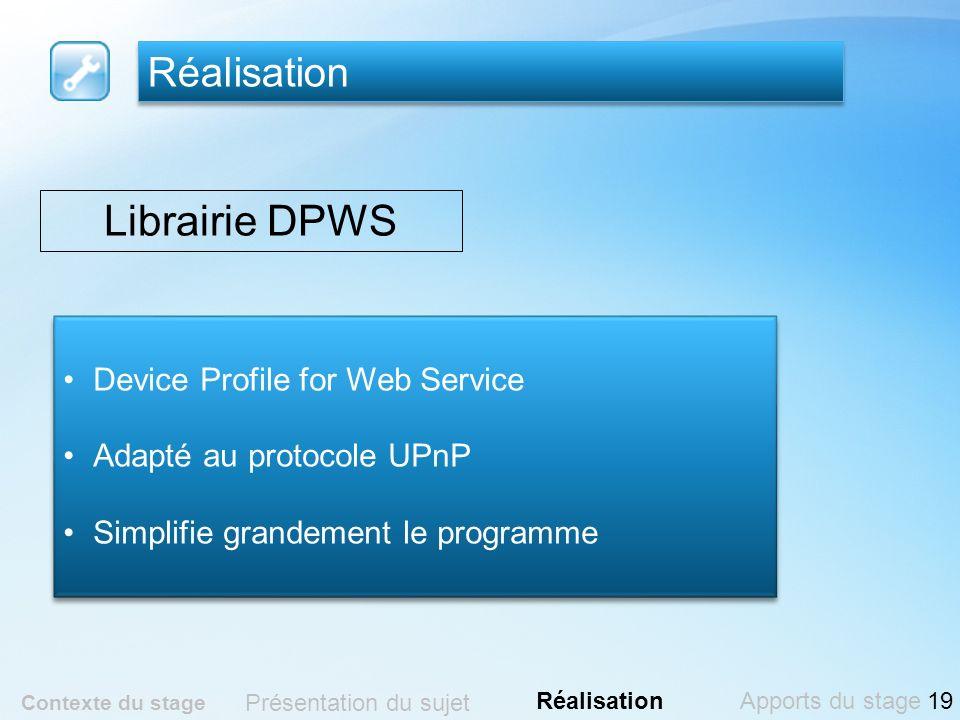 Librairie DPWS Réalisation Device Profile for Web Service