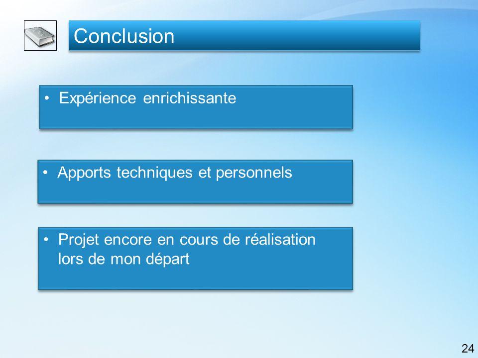 Conclusion Expérience enrichissante Apports techniques et personnels