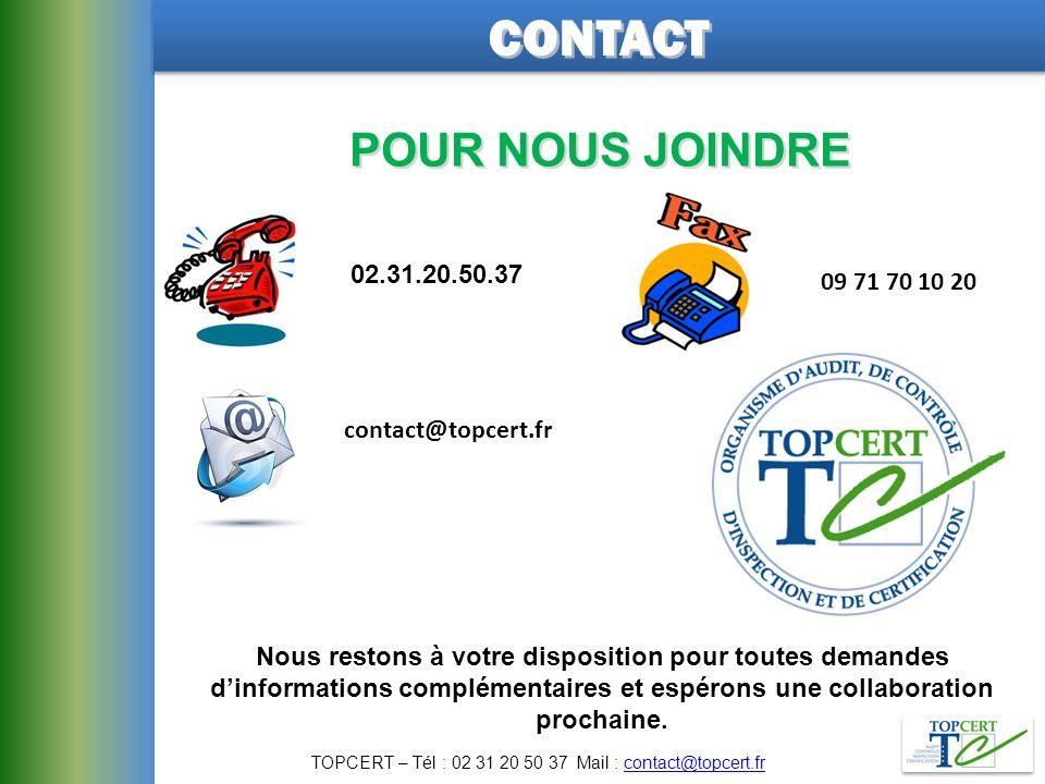 TOPCERT – Tél : 02 31 20 50 37 Mail : contact@topcert.fr