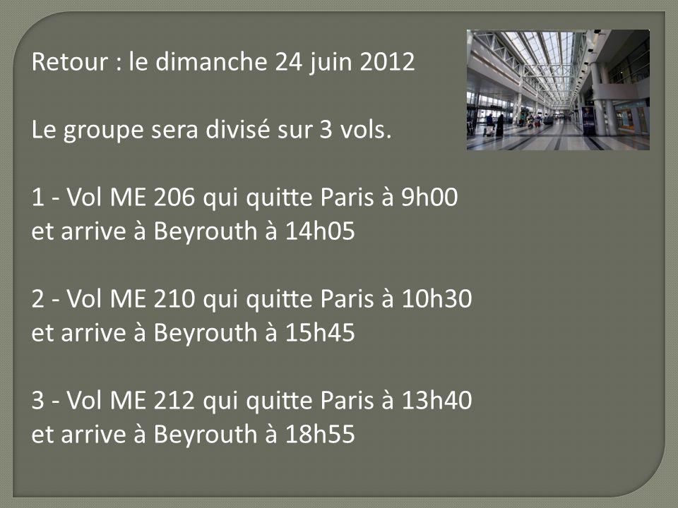 Retour : le dimanche 24 juin 2012