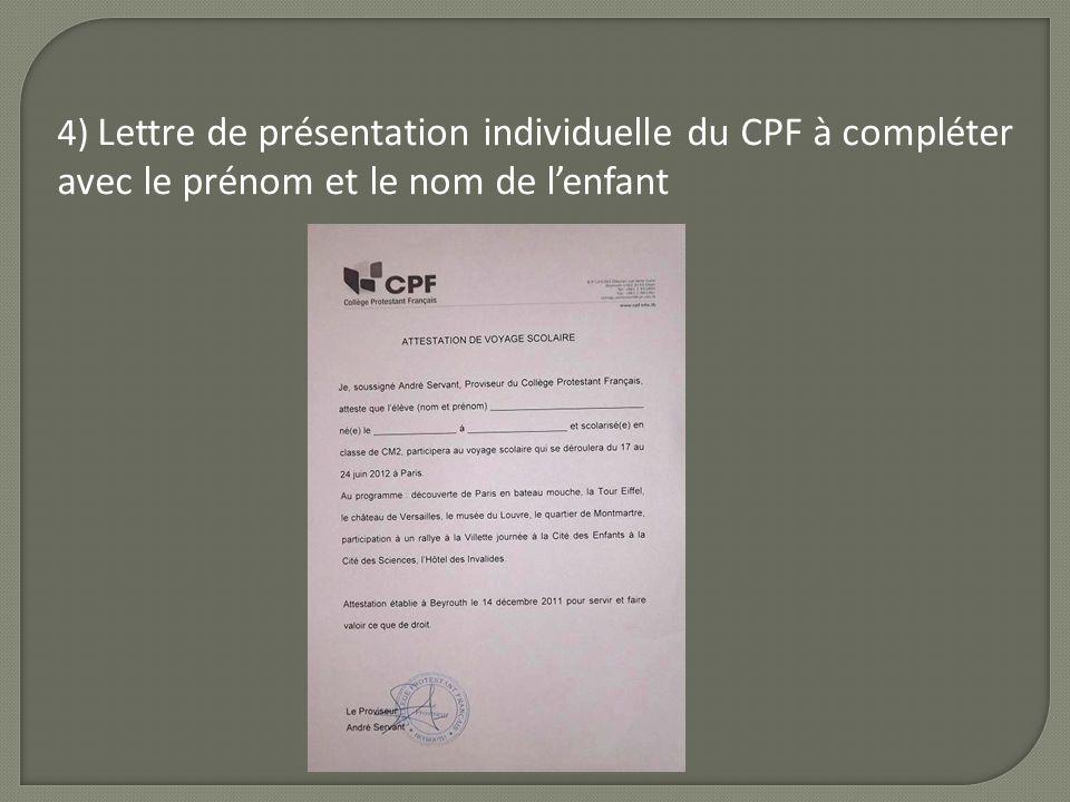 4) Lettre de présentation individuelle du CPF à compléter avec le prénom et le nom de l'enfant