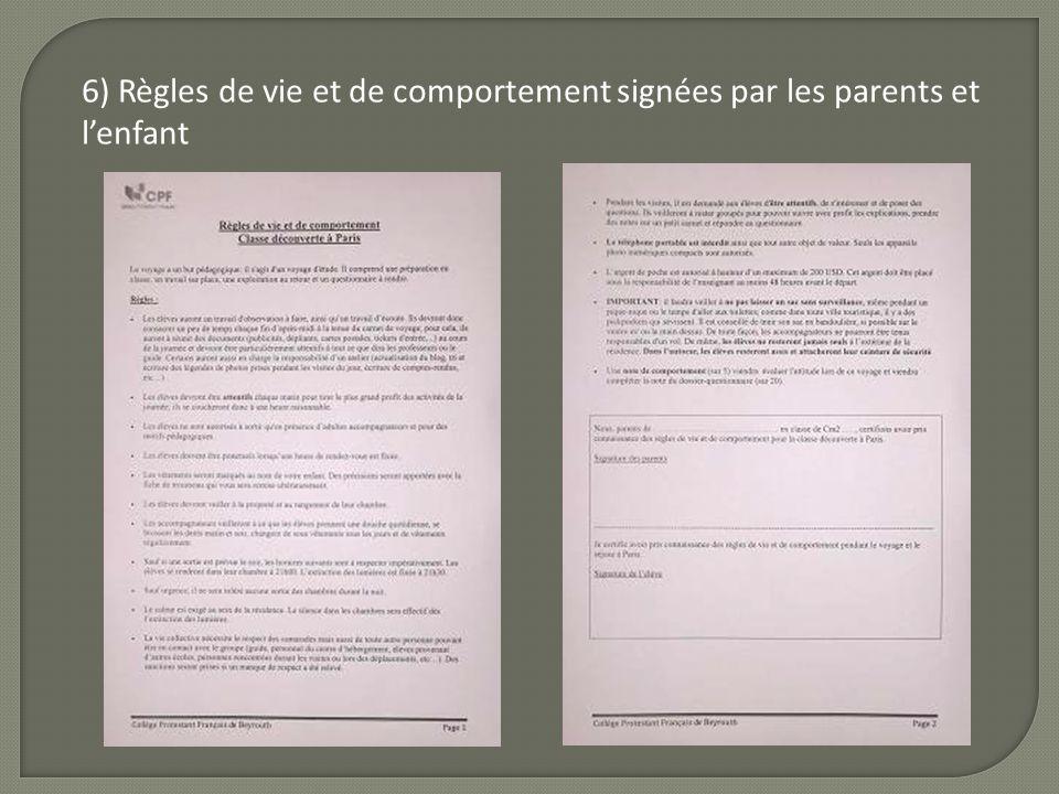 6) Règles de vie et de comportement signées par les parents et l'enfant