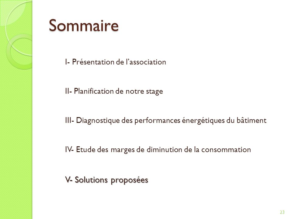 Sommaire V- Solutions proposées I- Présentation de l'association