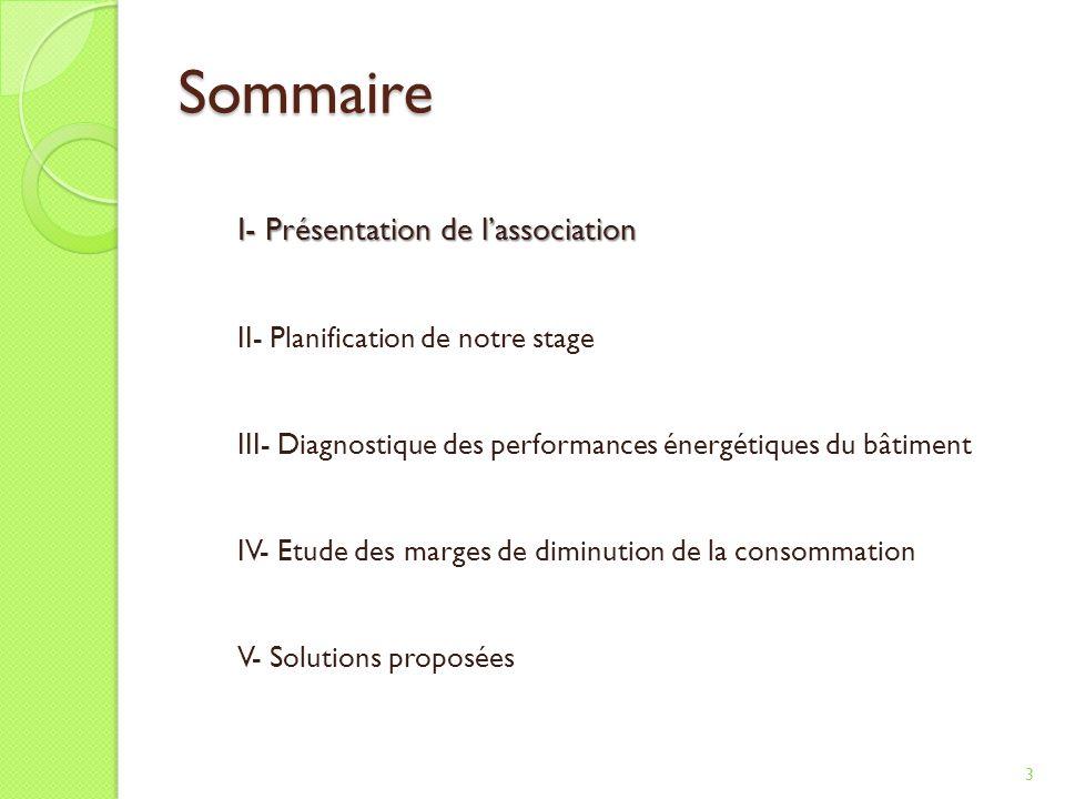 Sommaire I- Présentation de l'association