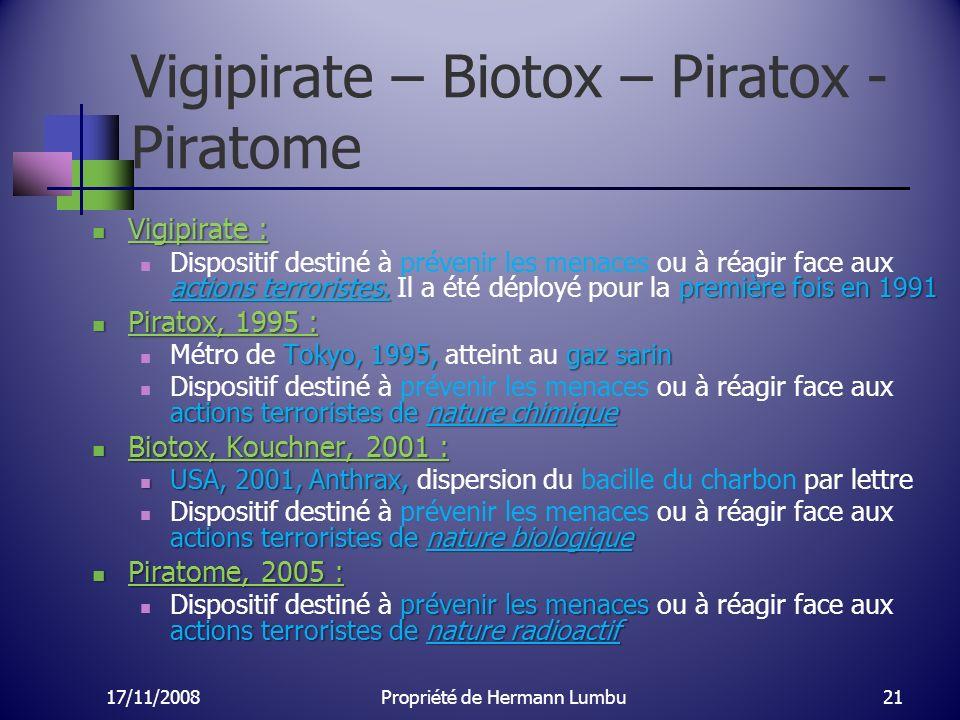 Vigipirate – Biotox – Piratox - Piratome