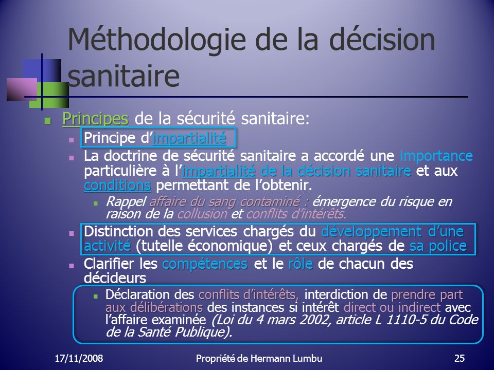 Méthodologie de la décision sanitaire