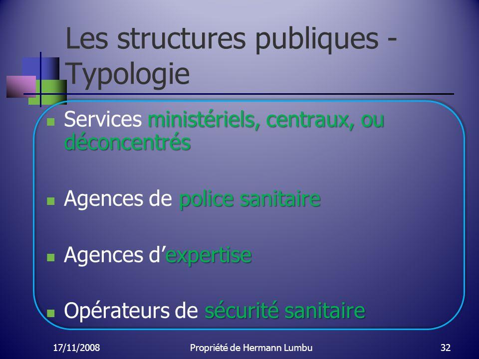 Les structures publiques - Typologie