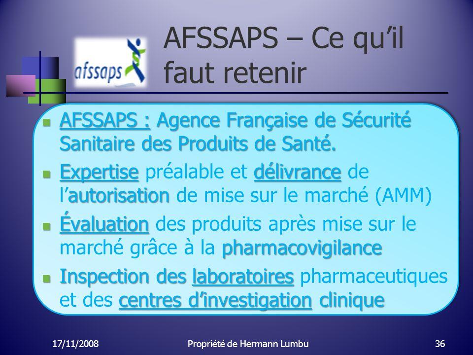 AFSSAPS – Ce qu'il faut retenir