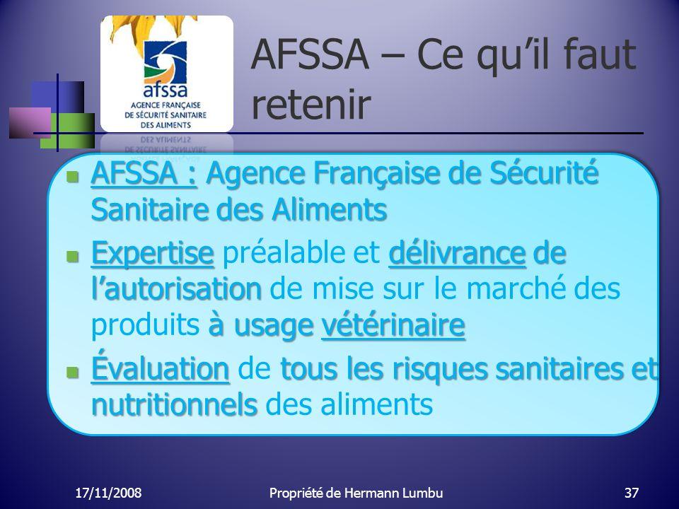 AFSSA – Ce qu'il faut retenir