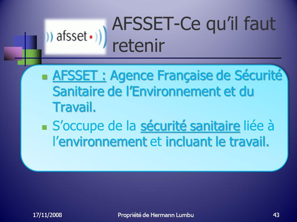 AFSSET-Ce qu'il faut retenir