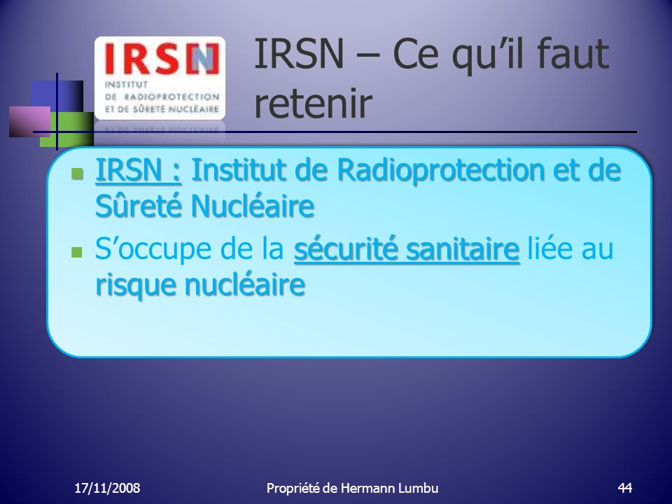 IRSN – Ce qu'il faut retenir