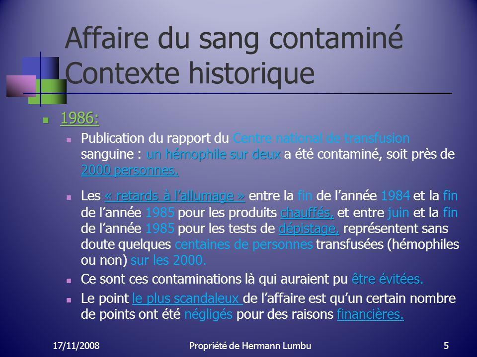 Affaire du sang contaminé Contexte historique