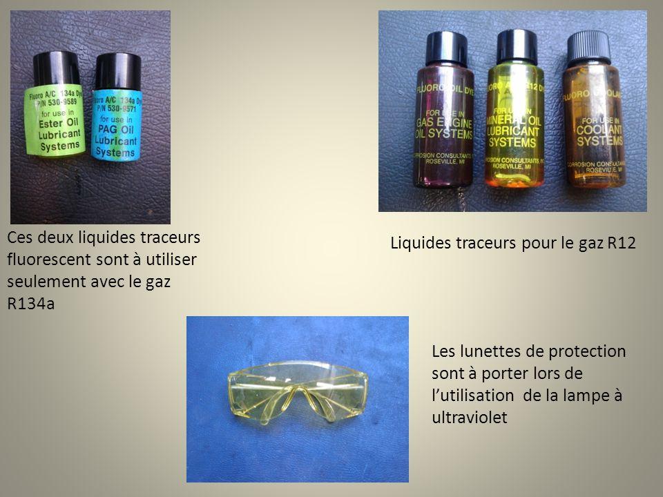 Ces deux liquides traceurs fluorescent sont à utiliser seulement avec le gaz R134a